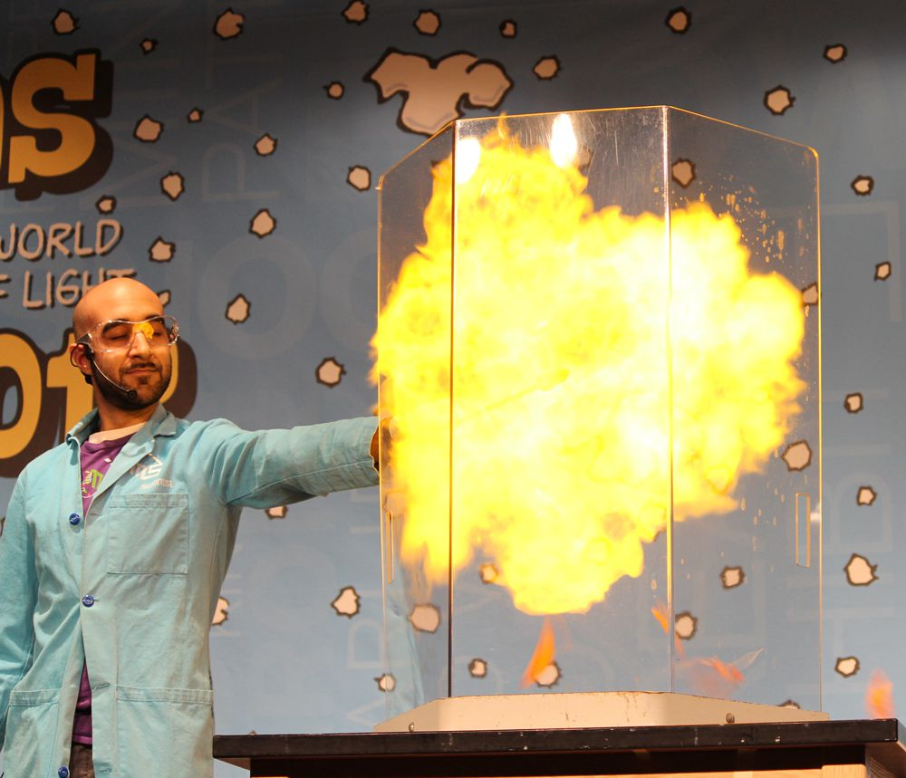 Use a long torch or candle attached to a meter stick to detonate a hydrogen balloon!