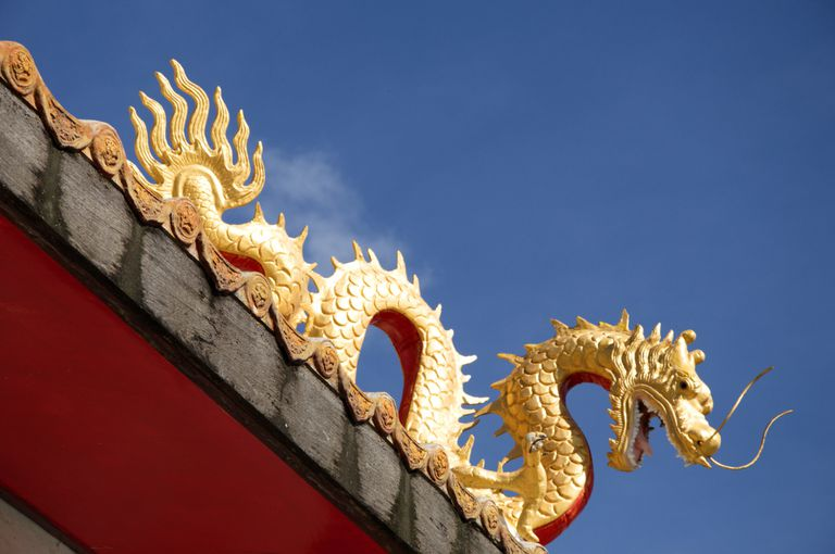 A naga on the roof of a Thai temple.