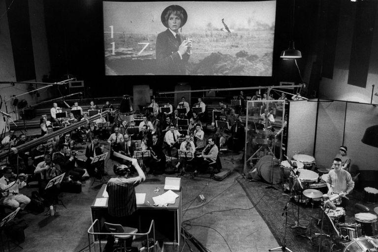 Orchestra recording score to a film