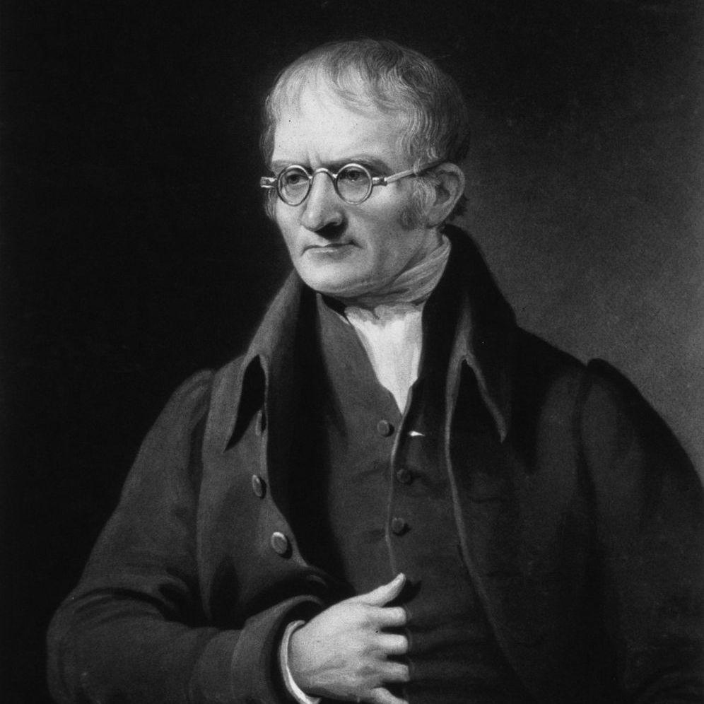 Black and white image of John Dalton, British physicist and chemist.