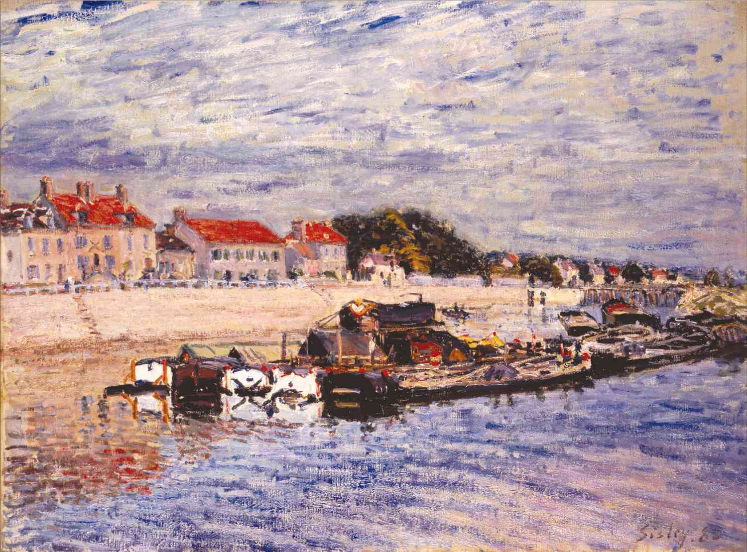 alfred sisley barges on the loing