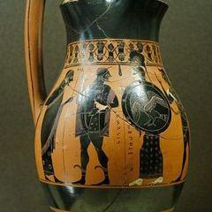 Heracles entrando en el Olimpo, olpe del pintor Amasis, 550-530 a. C.