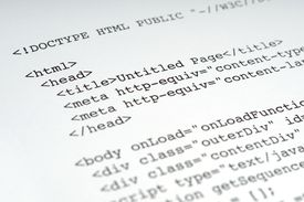 HTML code on a blank sheet