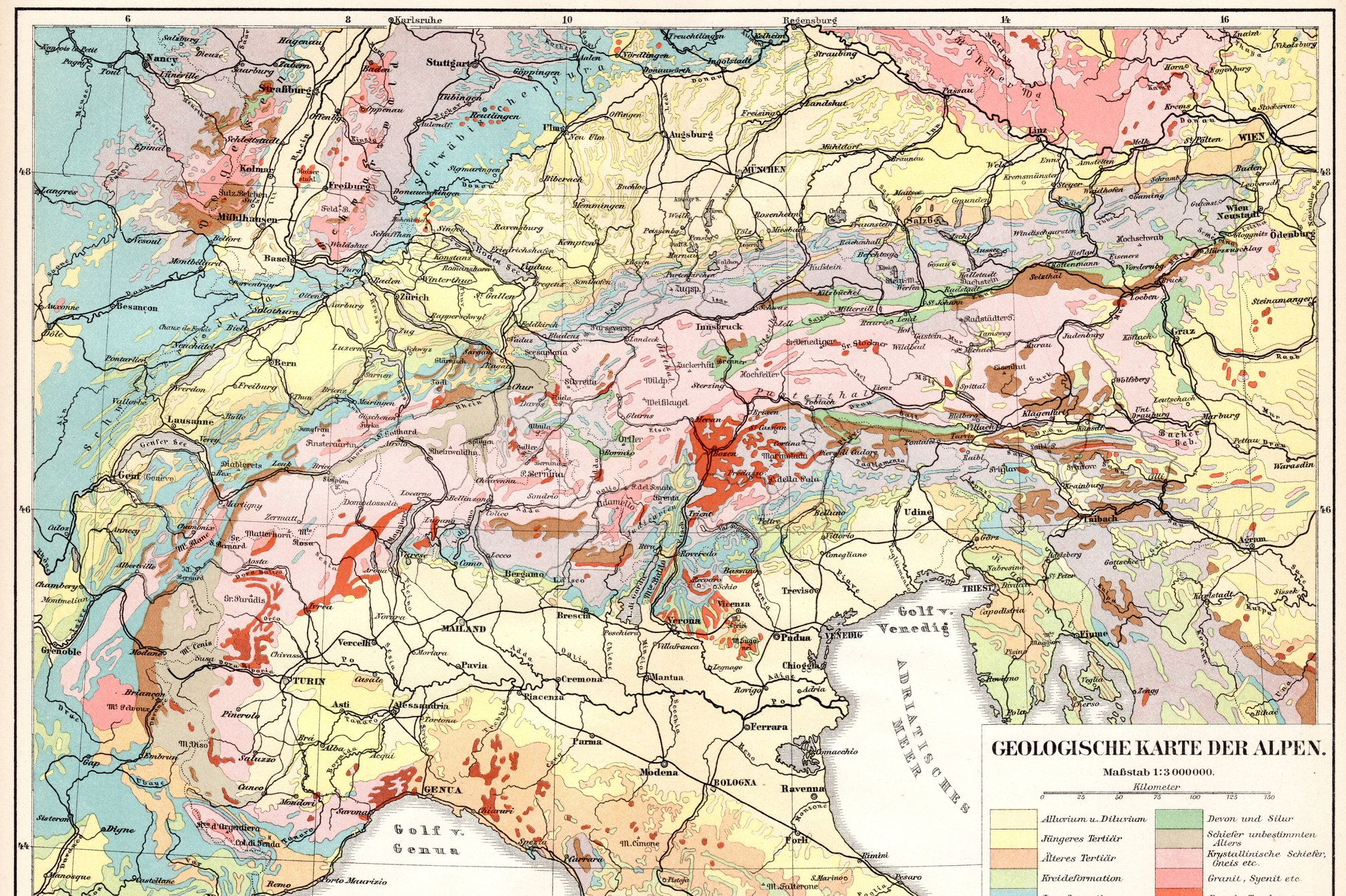 Geologic map of the Alps