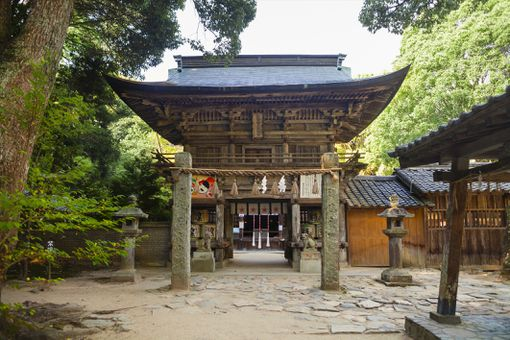Exterior view of Shinto Sakurai Shrine, Fukuoka, Japan.