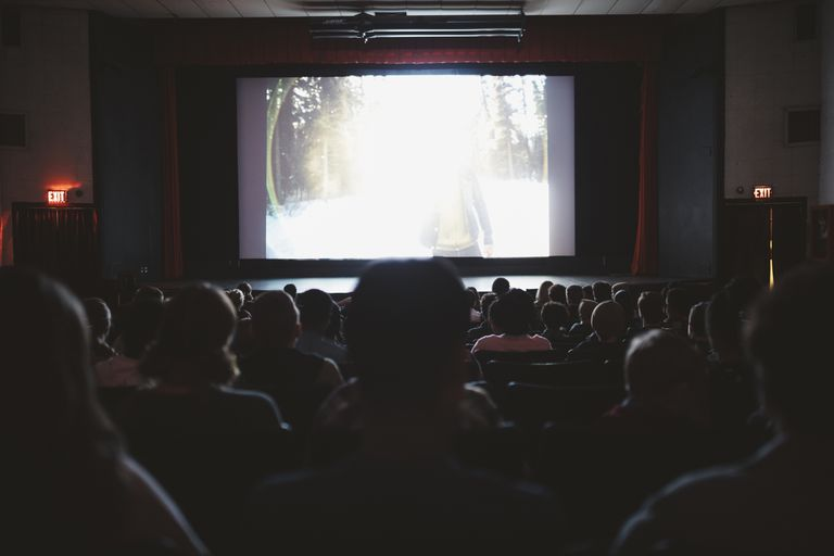 Audience watching a movie