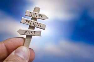 Signposts pointing to the past, present, and future