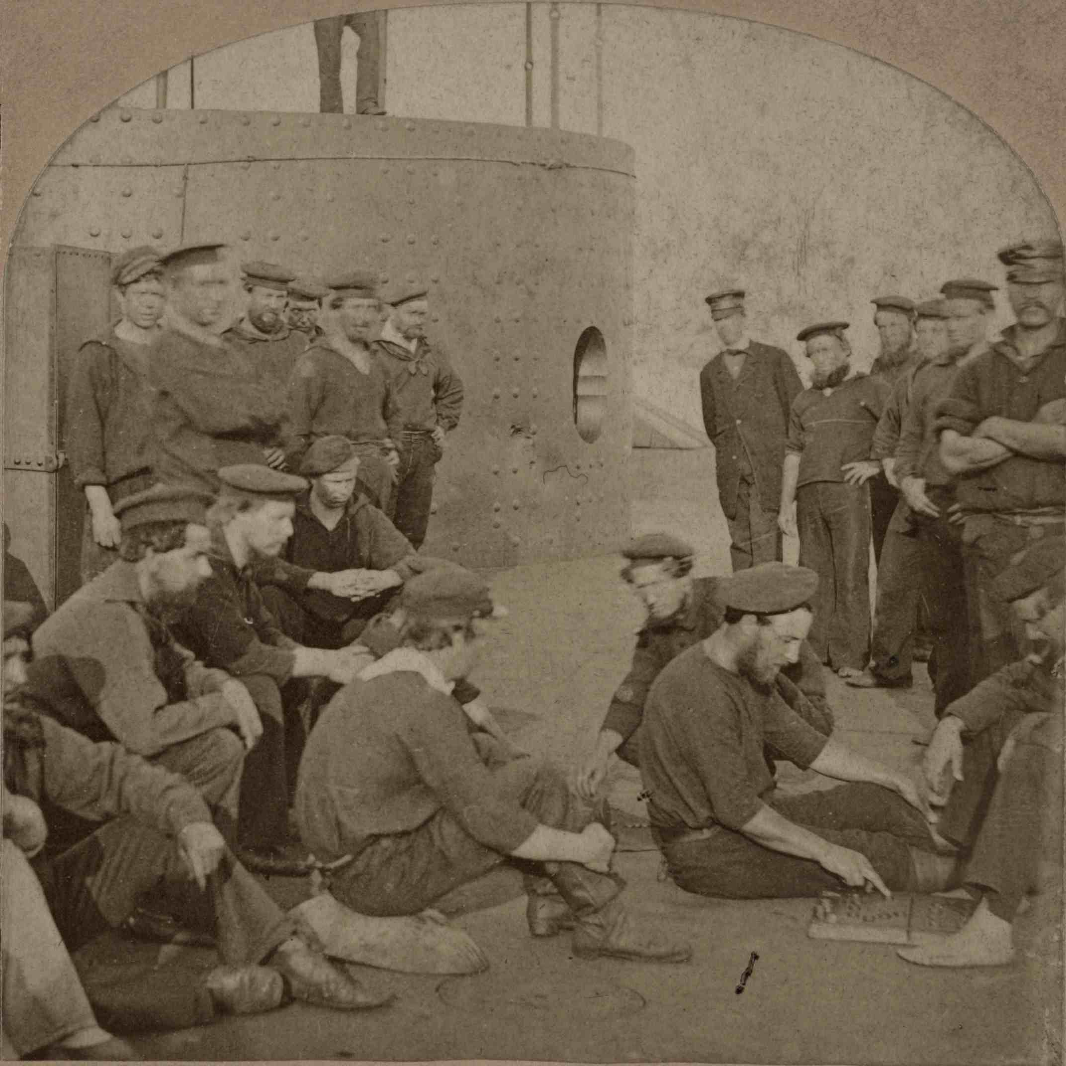 Sailors of the Monitor relaxing on its deck, summer 1862.