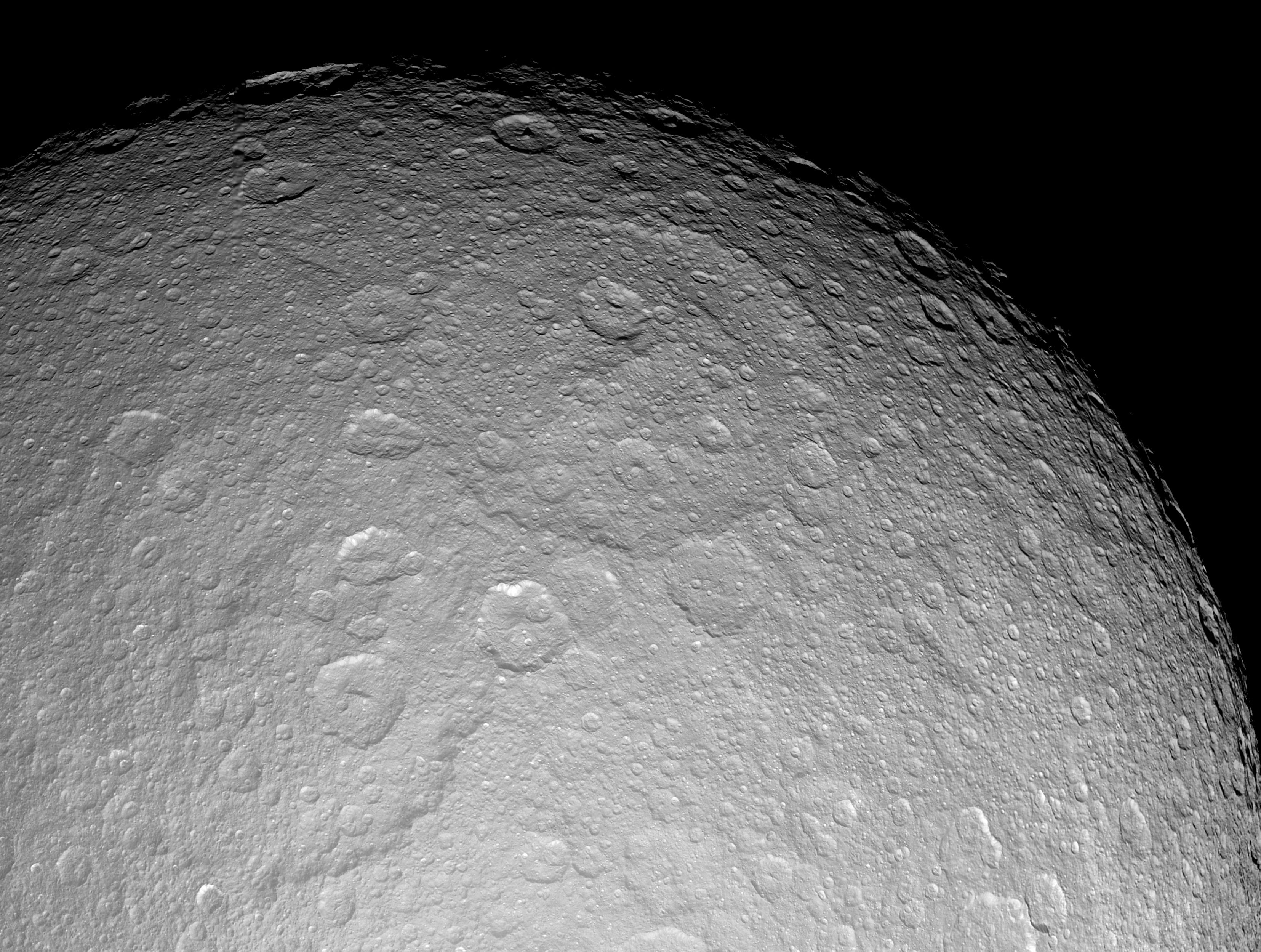 Rhea's largest crater Tirawa.