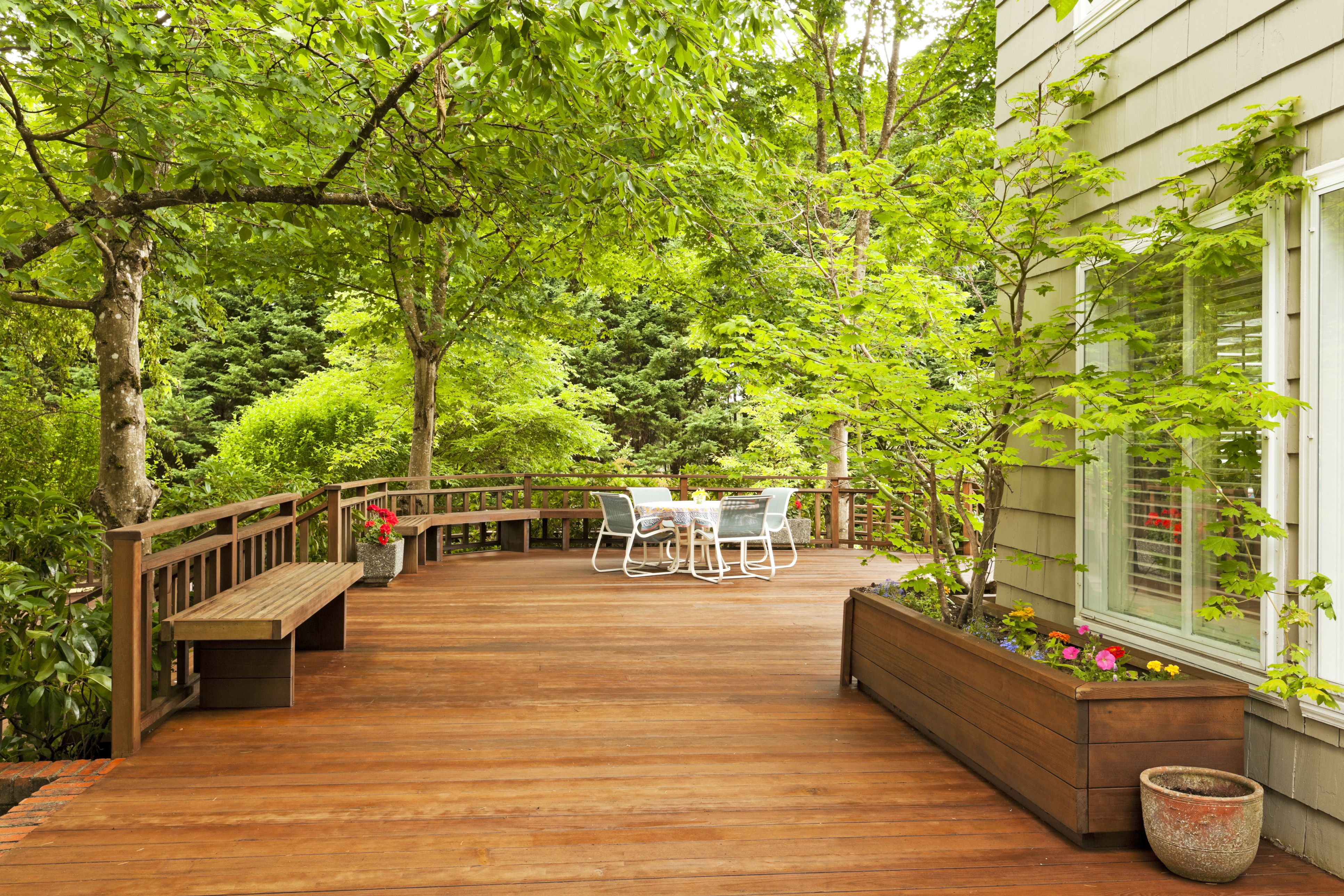 wooden deck around house and trees
