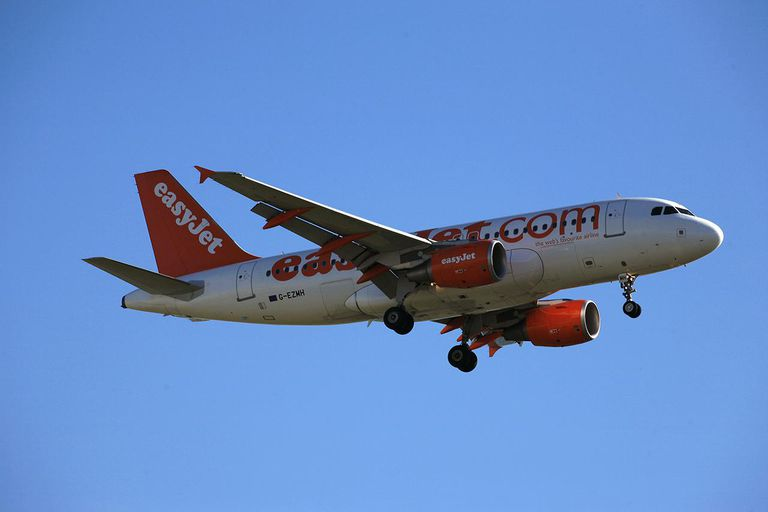 Easyjet airplane in flight.