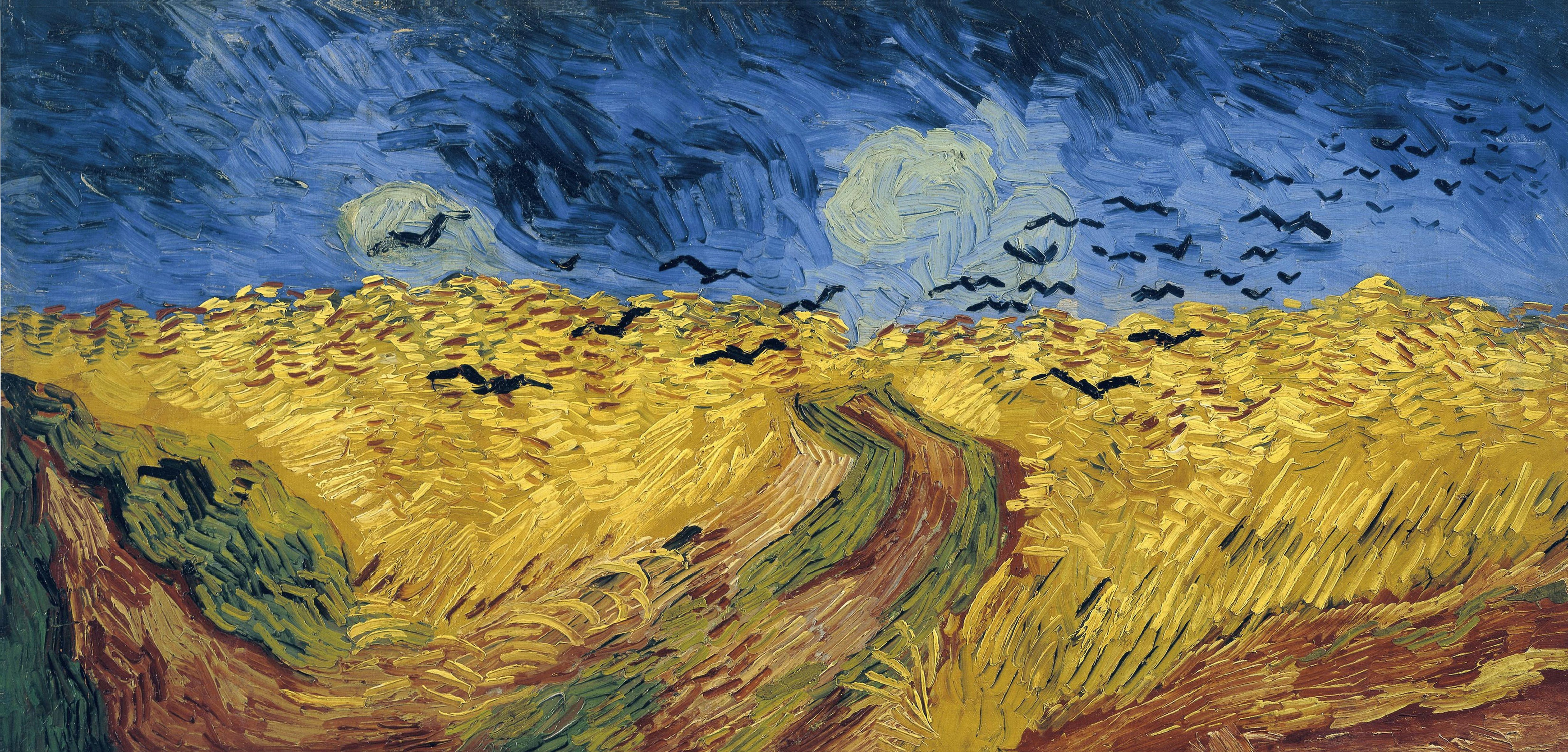 Oil painting of yellow field, stormy sky, and flying crows.