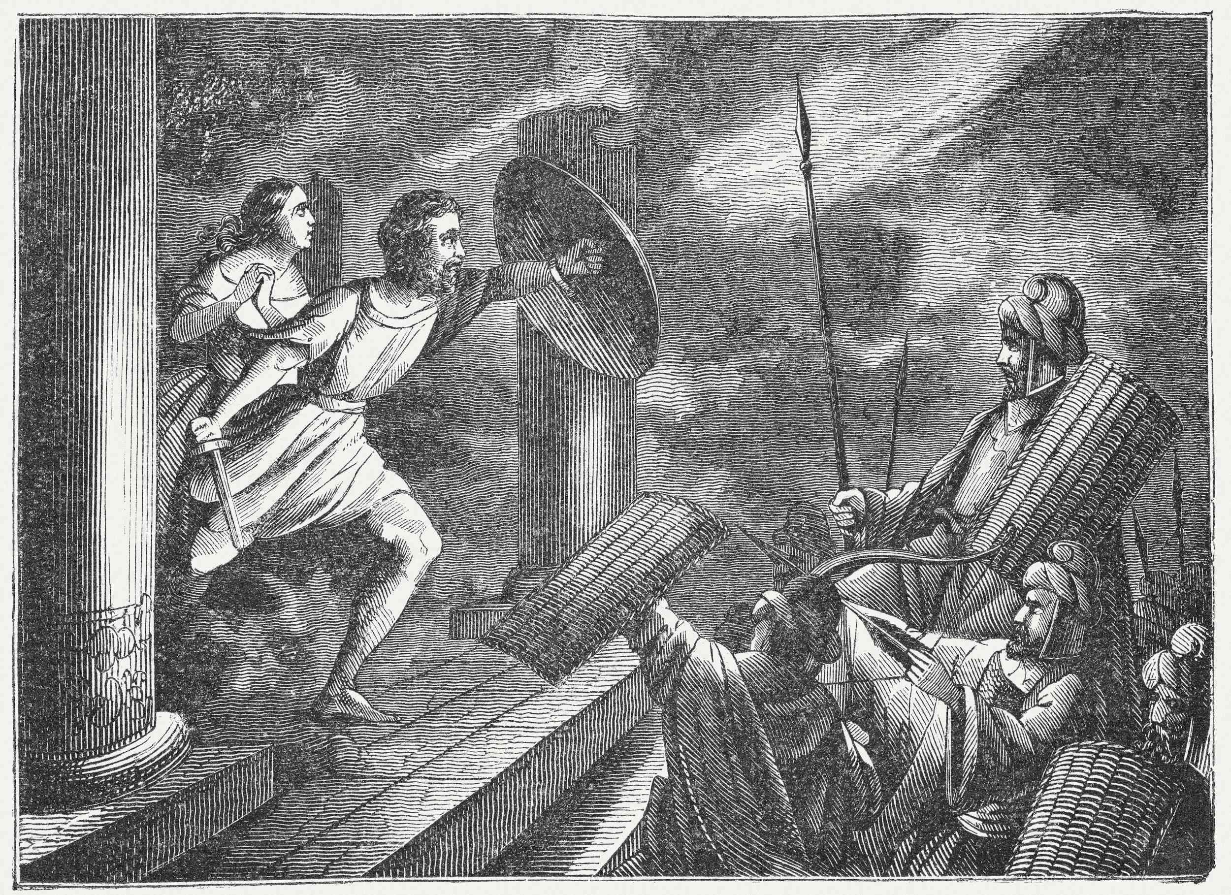 Death of Alcibiades (404 BC), 19th century wood engraving