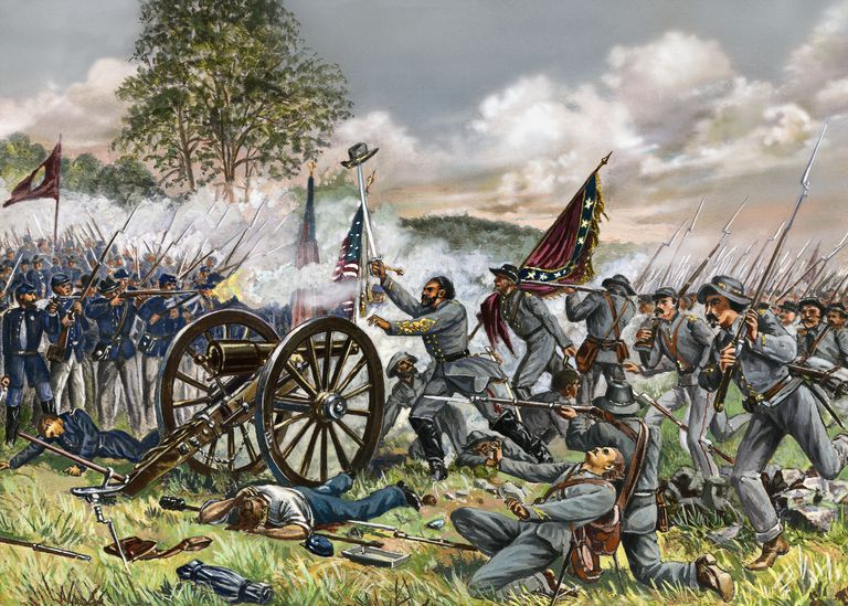 Illustration of General Lewis Armistead at the Battle of Gettysburg