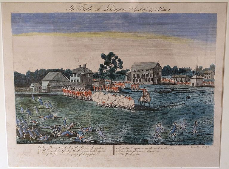 "Plate I, ""The Battle of Lexington, April 19, 1775"", Amos Doolittle engravings of the Battle of Lexington and Concord, December 1775, reprint by Charles E. Goodspeed, Boston, 1903 - Concord Museum - Concord, Massachusetts, USA."