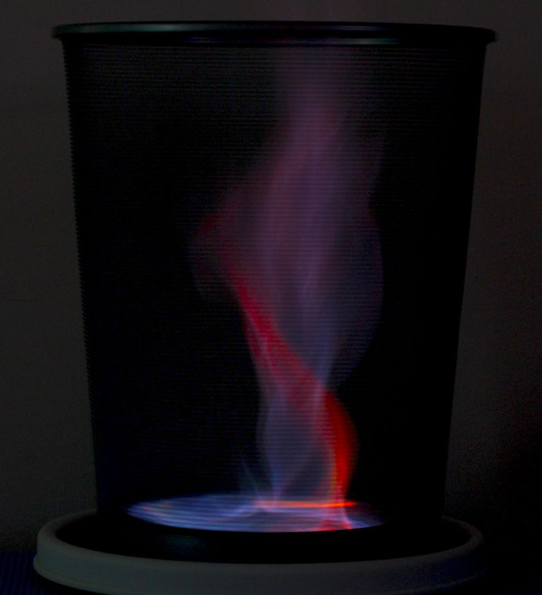 Make a red and blue fire tornado.