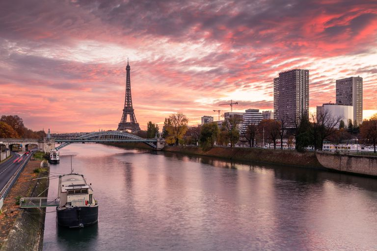 Eiffel tower and river Seine, Paris, France