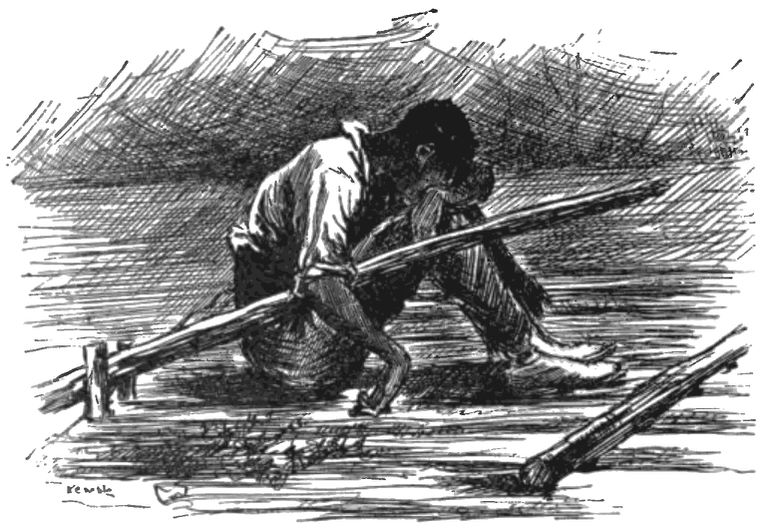 """Pencil drawing of Jim from """"The Adventures of Huckleberry Finn"""" sitting on the raft."""