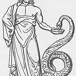 Ein Bild des Sohnes Asculapius des Gottes Phoebus Apollo aus Keightleys Mythologie, 1852.