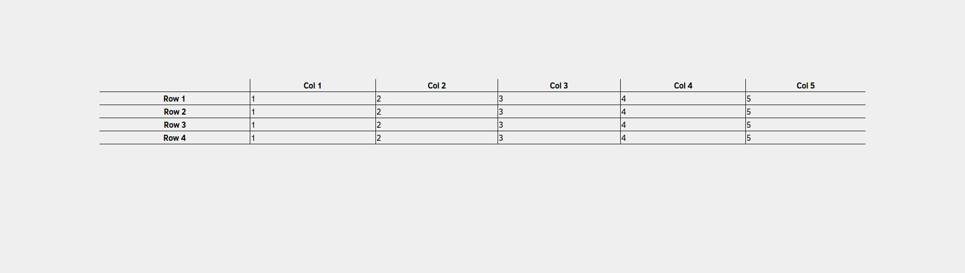 CSS table with borders below rows