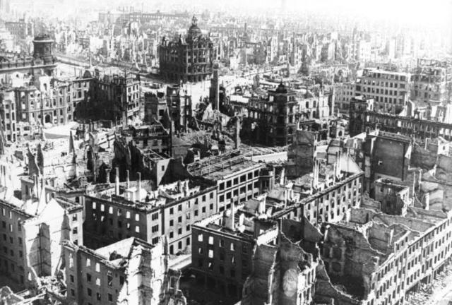Bomb-damaged buildins in Dresden.