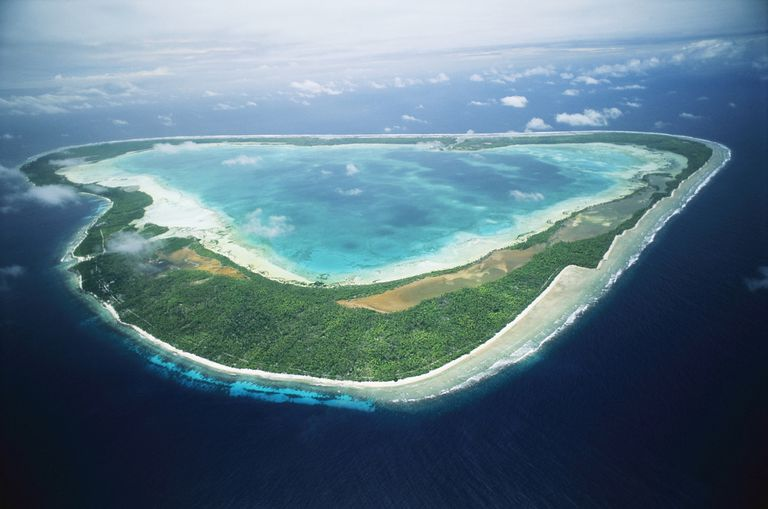 Aerial view of Marakei atoll