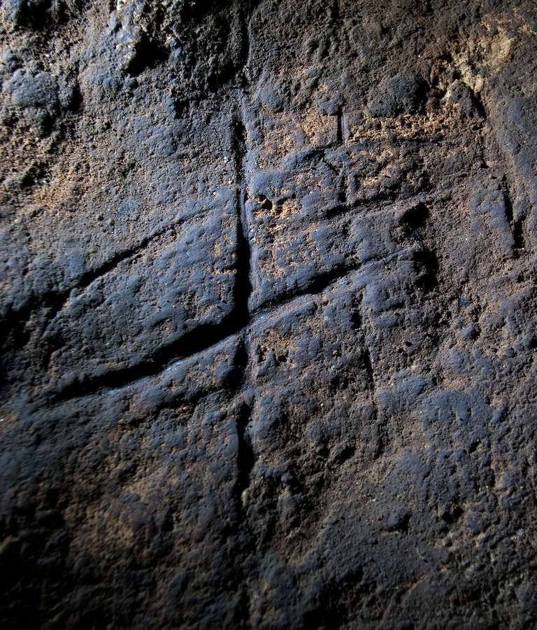 Neanderthal Rock engraving from Gorham's Cave, Gibraltar
