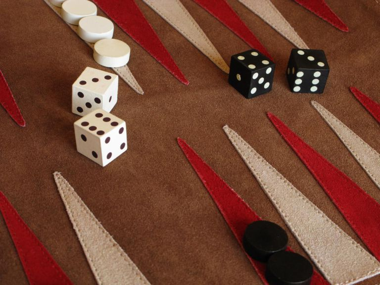 Close up of suede backgammon game board.