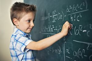 Boy Solving Difficult Mathematical Problems