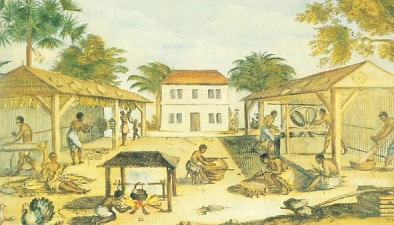 Painting from 1670 showing slaves working on a plantation.