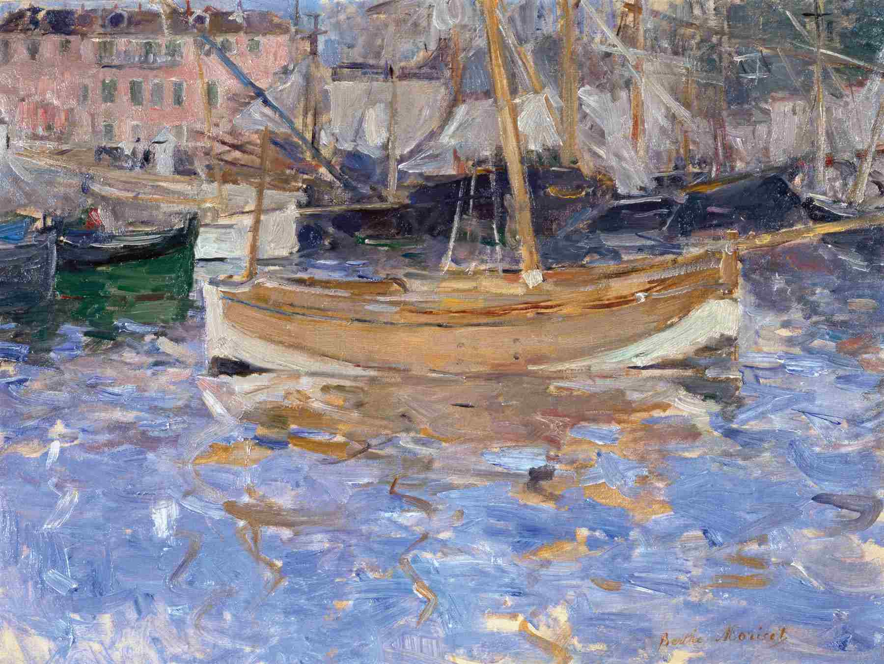 Berthe Morisot (French, 1841-1895). The Harbor at Nice, 1881-82. Oil on canvas. 41.4 cm x 55.3 cm (16 1/4 x 21 3/4 in.). Wallraf-Richartz-Museum & Fondation Corboud, Köln.