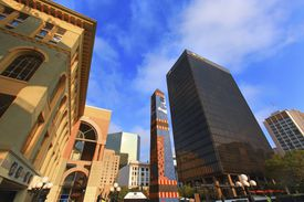 Horton Plaza, San Diego on a bright, sunny day.