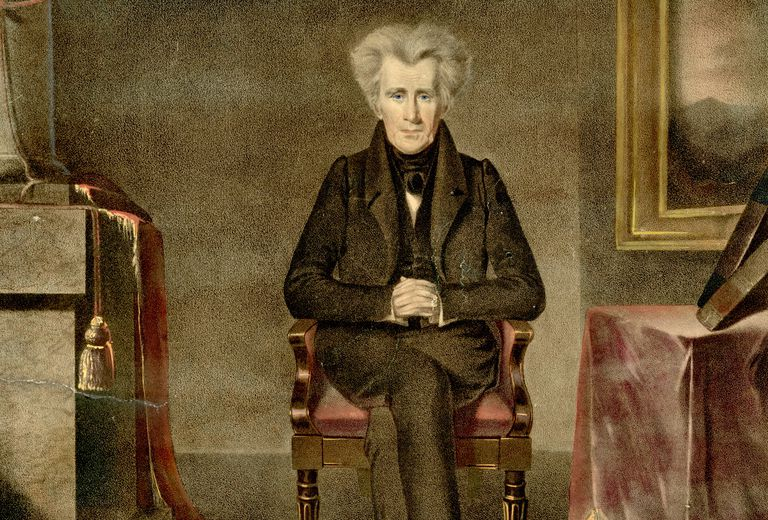 Color print of seated Andrew Jackson