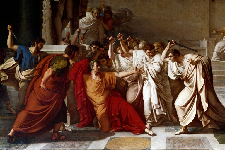 Full color painting depicting the death of Julius Caesar.