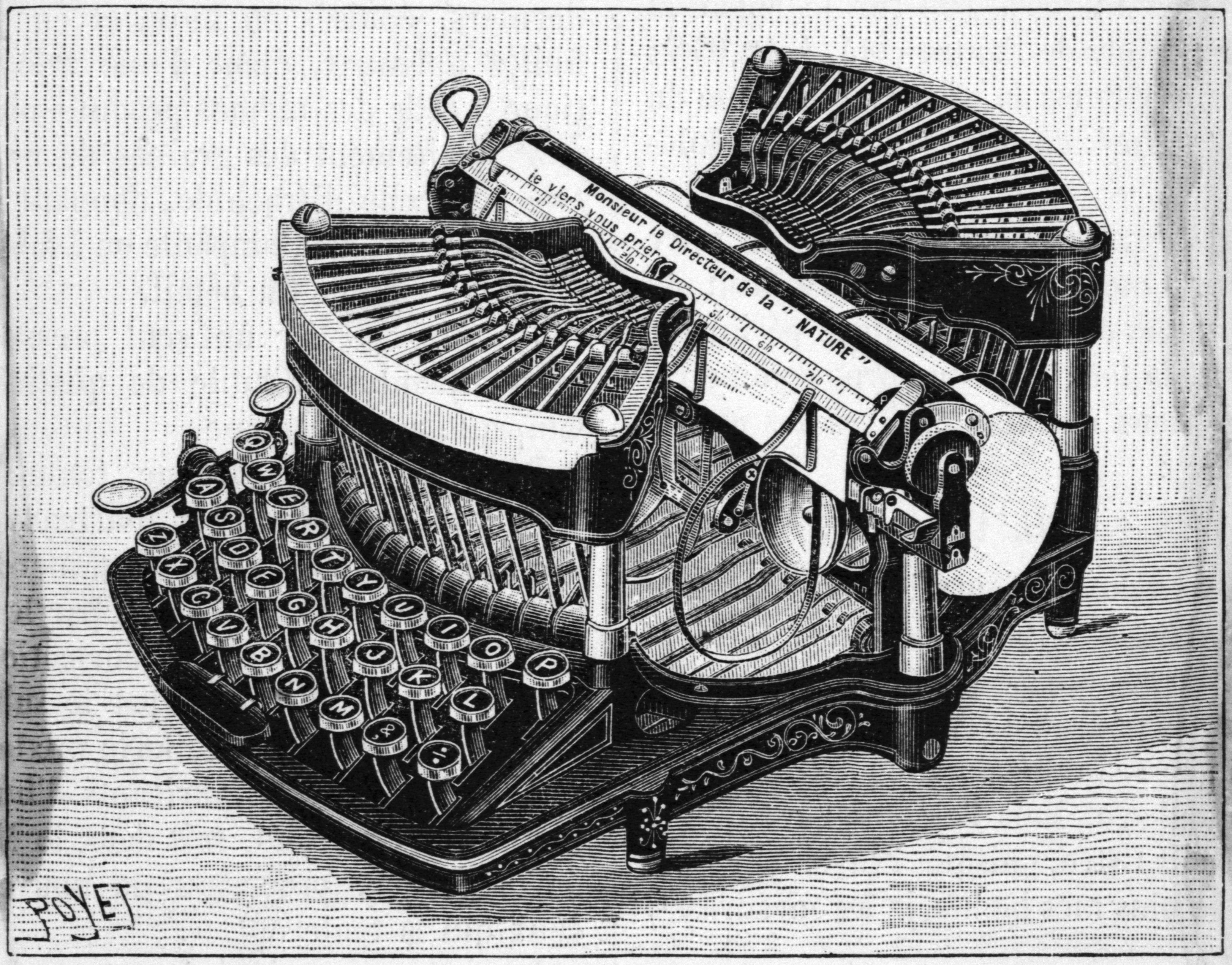 Engraving of the Williams Typewriter by E. Poyet