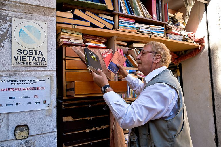 A man peruses an open sky library loation