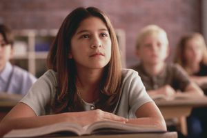 girl listening in class