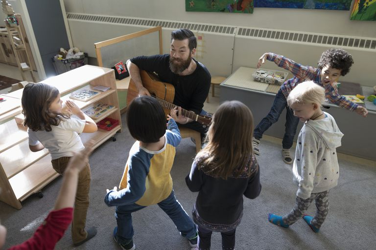 Preschool students dancing, listening to male teacher playing guitar in classroom