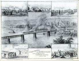 Print depicting strike battle at Homestead Steel Mill