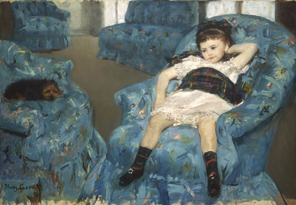 Mary Stevenson Cassatt (American, 1844-1926). Little Girl in a Blue Armchair, 1878. Oil on canvas. Overall: 89.5 x 129.8 cm (35 1/4 x51 1/8 in.). Collection of Mr. And Mrs. Paul Mellon. 1983.1.18. National Gallery of Art, Washington, DC