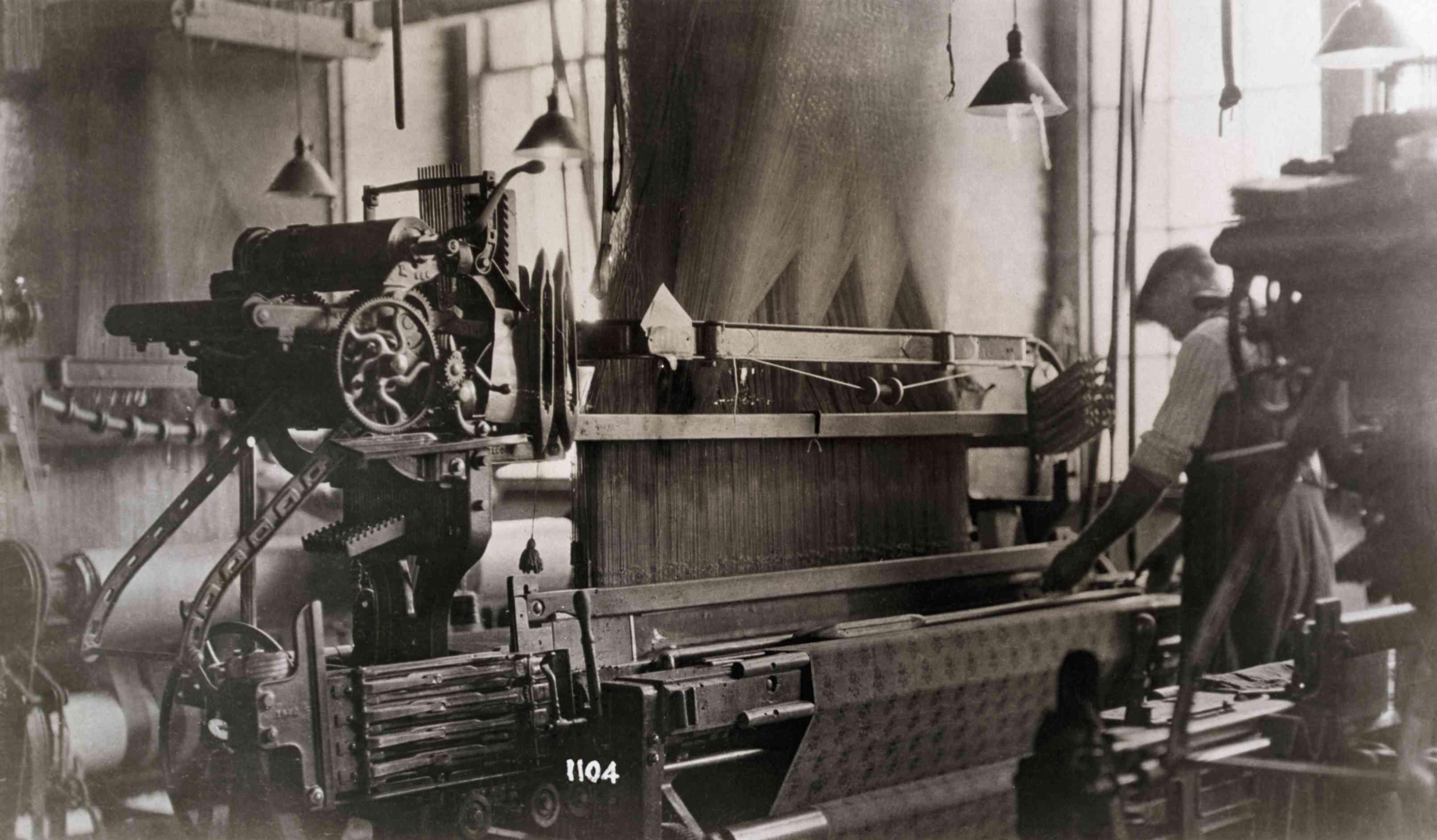 Man Operating Jacquard Loom