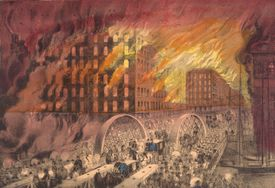 Currier and Ives lithograph of the Chicago Fire