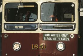 Segregated bus in South Africa