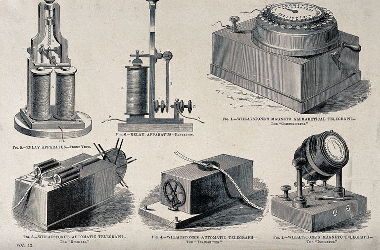 Components of the Wheatstone electromechanical telegraph network.