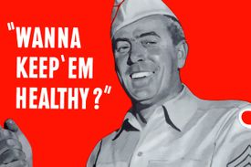 """Poster showing military man cooking and the words: """"WANNA KEEP 'EM HEALTHY?"""""""