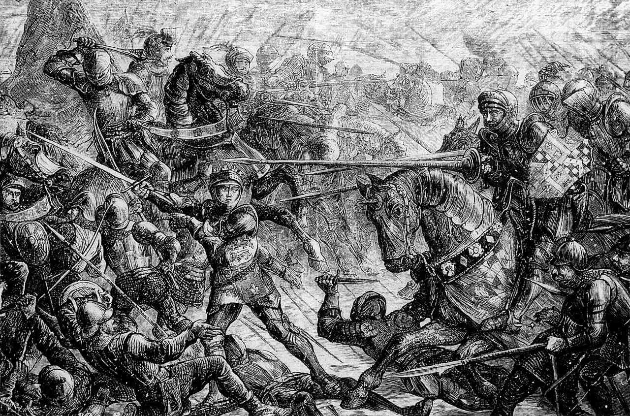 Mounted knights fight on horseback at the Battle of Towton.