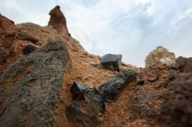 Obsidian Outcrop at the San Andreas Fault, California