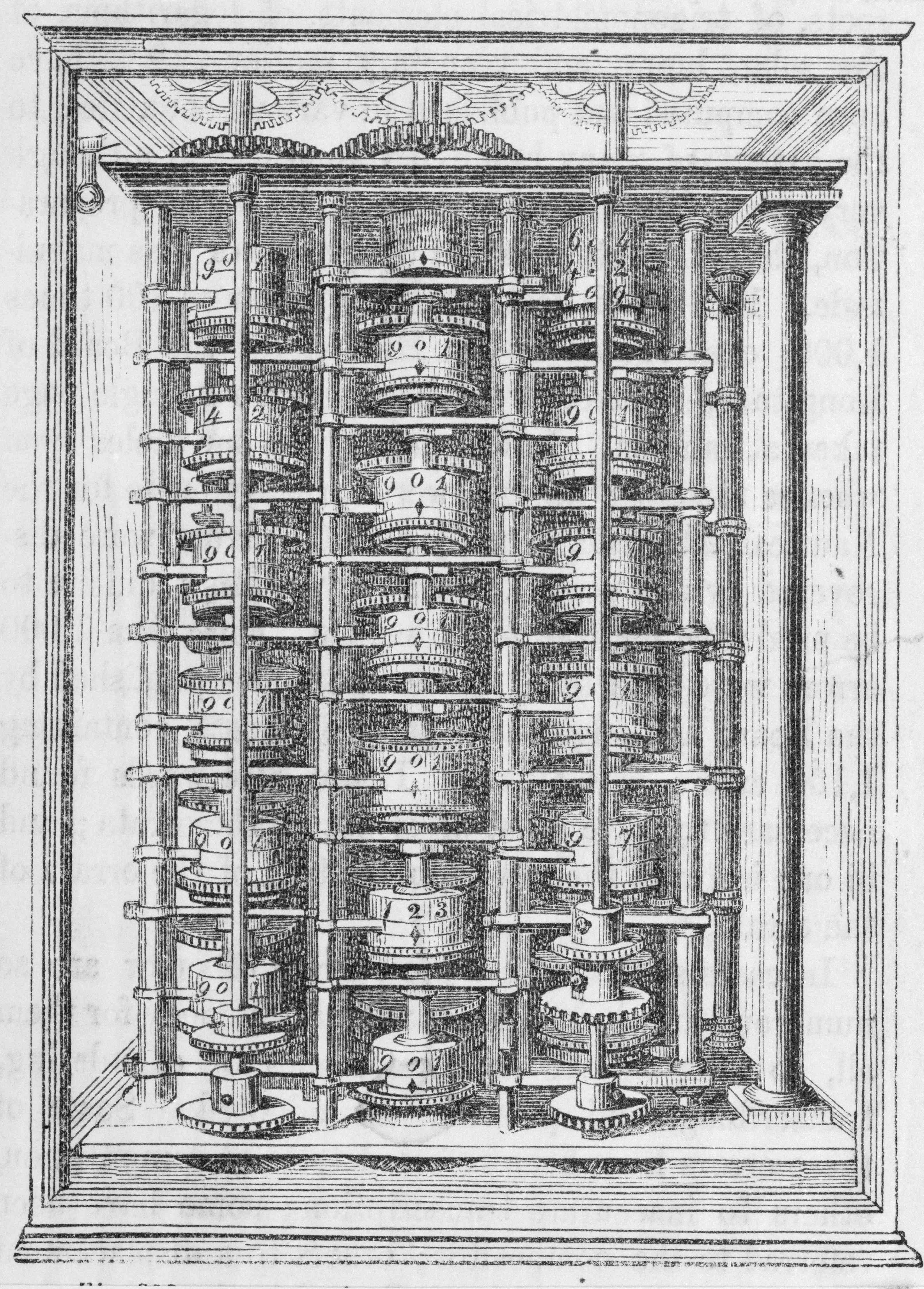Illustration Charles Babbage's Difference Engine, a mechanical digital calculator.