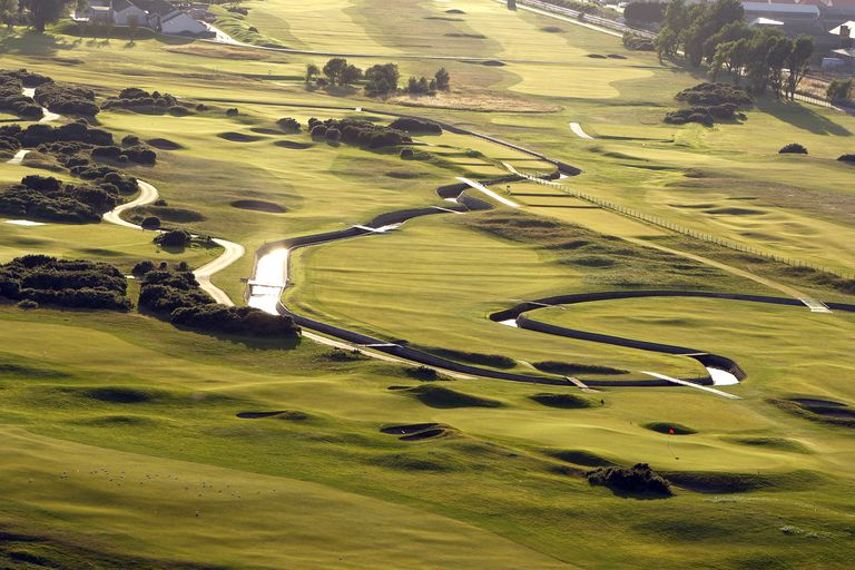 An aerial view of the 249 yards par 3, 16th hole 'Barry Burn (lower) and the 433 yds, par 4, 17th hole 'Island' on the Carnoustie links golf course