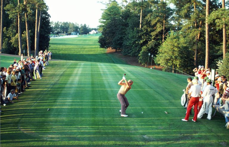 Jack Nicklaus of the USA tees off on the 18th hole during the U.S Masters at Augusta National, 1986, in Georgia